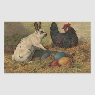 Sticker Sweet Antique Easter Bunny eggs chickens