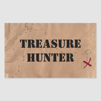 Sticker: Treasure Hunter, on an Old Map Rectangular Sticker