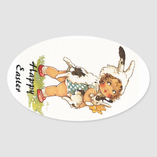 Sticker Vintage Antique Cute Easter Bunny Suit