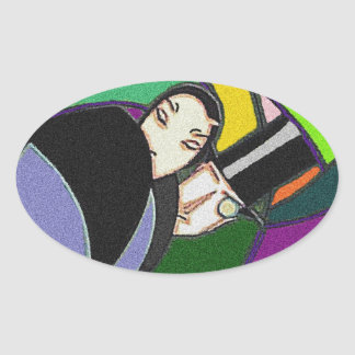 Sticker Vintage Art Deco abstract Fancy Couple