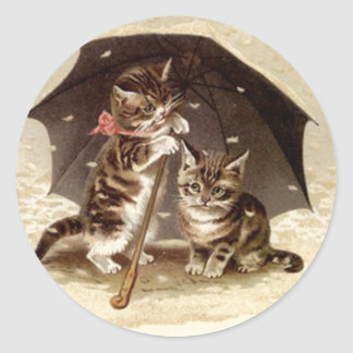 Sticker Vintage Cats play under umbrella kittens