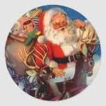 Sticker Vintage Christmas Santa Reindeer Rooftop