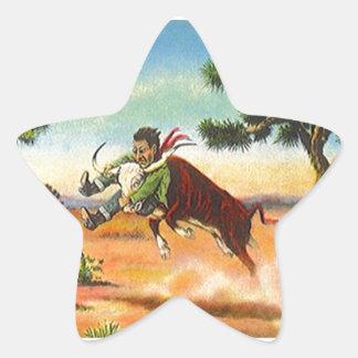 Sticker Vintage Cowboy Steer Wrangler Rodeo Stars