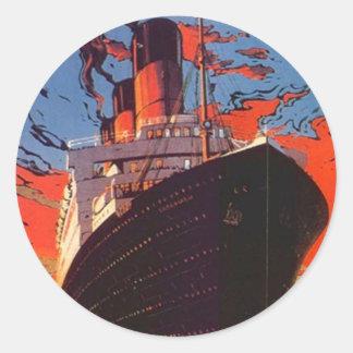 Sticker Vintage Cruise Ship Vacation Travel Promo