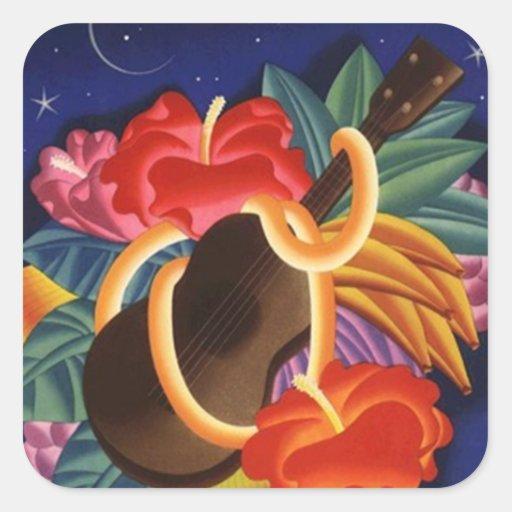 Sticker Vintage Hawaiian Ukulele Tiki Night TravelVintage Hawaiian Ukulele