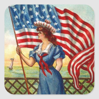 Sticker Vintage Patriotic Lady USA Old Glory Flag