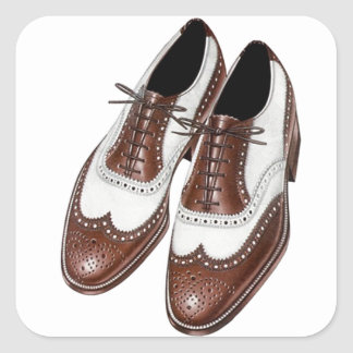 Sticker Vintage Two-tone Oxford Wingtip Shoes Pair
