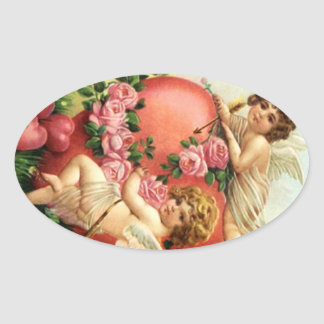 Sticker Vintage Victorian Valentine Cupids Hearts