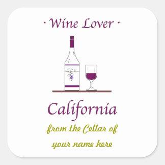 sticker,wine lover,california,personalized square sticker