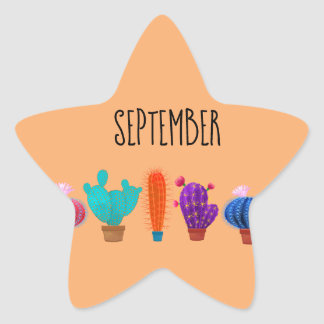 Sticker with cactus for September