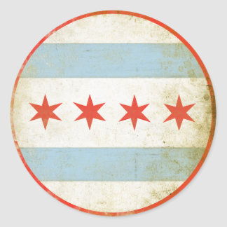 Sticker with Distressed Chicago Flag Print