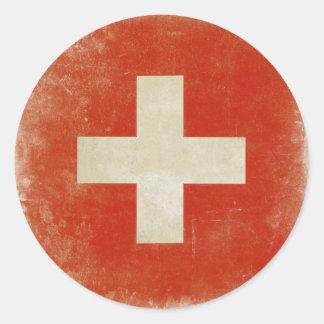 Sticker with Distressed Switzerland Flag