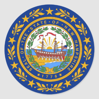 Sticker with Flag of  New Hampshire