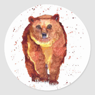 Sticker with handpainted bear