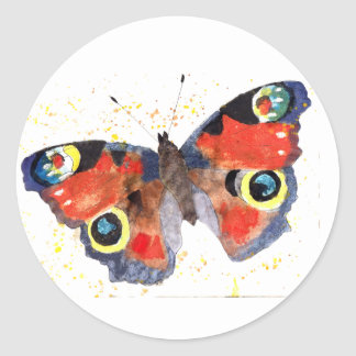 Sticker with handpainted butterfly