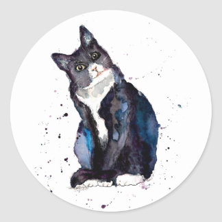Sticker with handpainted cat