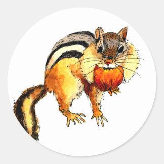 Sticker with handpainted chipmunk
