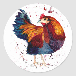 Sticker with handpainted cock