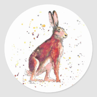Sticker with handpainted hare