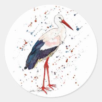 Sticker with handpainted stork