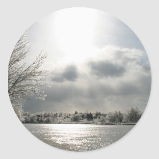 sticker with photo of icy winter landscape