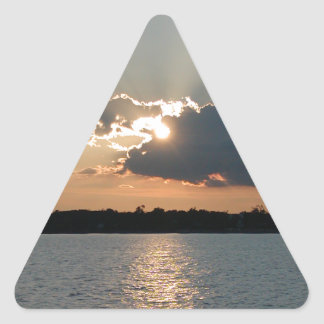 sticker with photo of silver-lining sunset