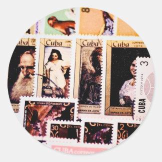 Stickers, 1970s Cuban Postage Stamps, Art Round Sticker