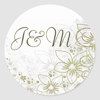 Stickers for Green Gold Simple Wedding