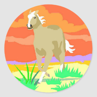 STICKERS--Palomino Sunset Classic Round Sticker