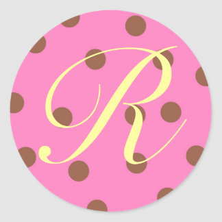 Stickers Pink Brown Monogram R