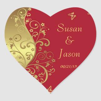 Stickers--Red & Gold Swirls Heart Sticker