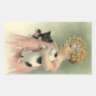 STICKERS Victorian Girl Pet Kitten & Puppy Sweet
