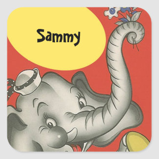 STICKERS Vintage Cute Elephant Square Name Tagging