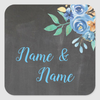 Stickers Wedding Labels Blue Flower Aqua Chalk