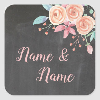 Stickers Wedding Labels Coral Flower Peach Chalk