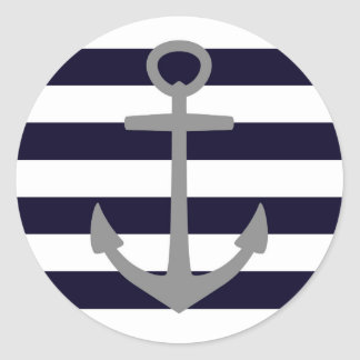 Stickers with nautical stripes & gray anchor