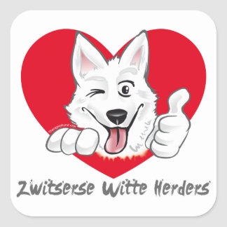 Stickers with Swiss white shepherd Thumb Up