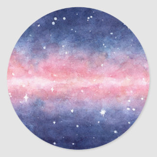Stickers with watercolor space illustration
