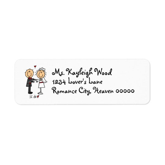 Stickfigure Bride & Groom Return Address Label