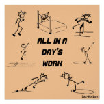 "Stickman track and field ""All in a Day's Work"" Print"