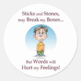 Sticks and Stones Round Sticker