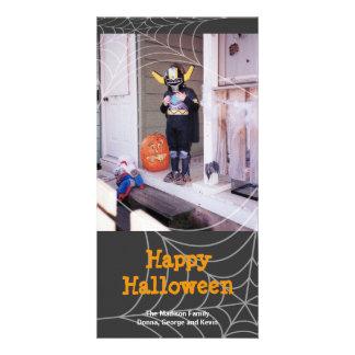 Sticky spider web black orange Halloween greeting Customized Photo Card