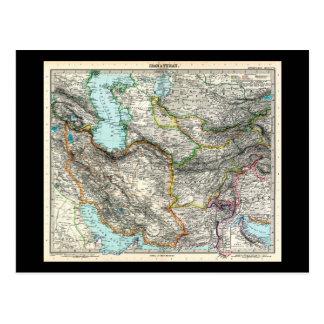 Stielers Handatlas Map of Iran & Turan (1891) Postcard