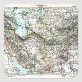 Stielers Handatlas Map of Iran & Turan (1891) Square Sticker