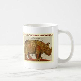 Stiff, Inflexible, Invincible rhino  brown.jpg Basic White Mug