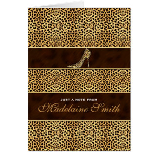 Stiletto Heel and Cheetah Print Deluxe Note Card