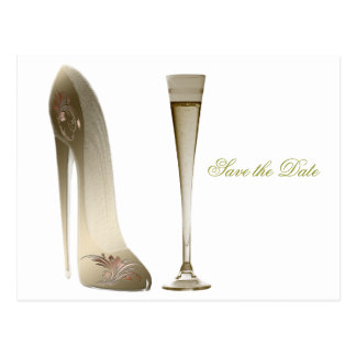 Stiletto Shoe and Champagne Postcard