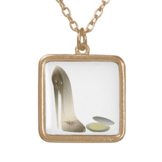 Stiletto Shoe and Compact Art Square Pendant Necklace