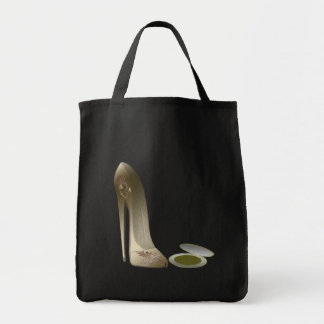 Stiletto Shoe and Compact Art Grocery Tote Bag