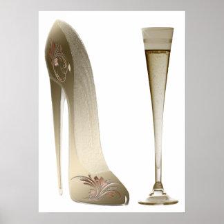 Stiletto Shoe Art and Champagne Flute Poster